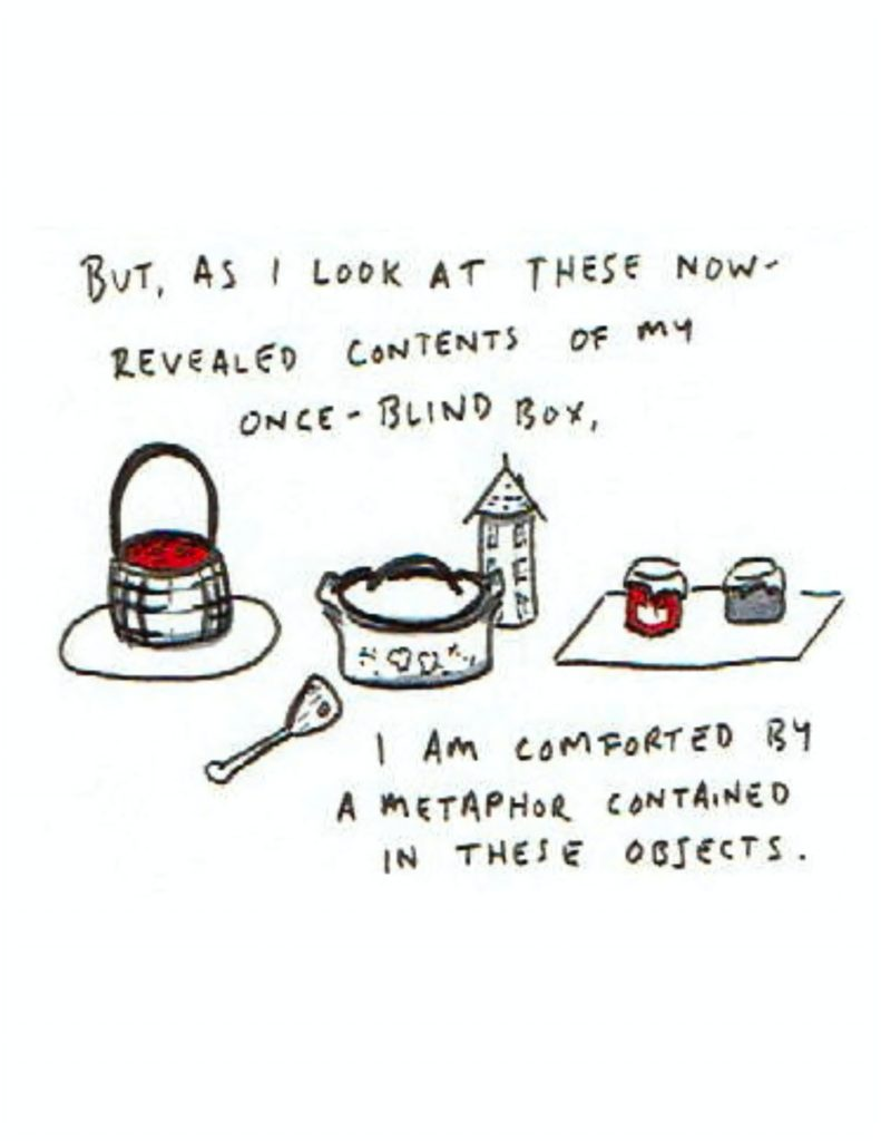 """Page 8: """"But, as I look at these now-revealed contents of my once-blind box,"""" and beneath it are the basket with berries, the spoon, the pot, the sugar canister shaped like a house, and the jam jars. """"I am comforted by a metaphor contained in these objects."""""""