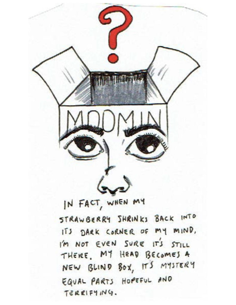 """Page 17: At the top of the page is a box with eyes and a nose on it and """"Moomin"""" written at the top. The box is open, and a red question mark floats above it. The eyes look up at the question mark. """"In fact, when my strawberry shrinks back into its dark corner of my mind, I'm not even sure it's still there. My head becomes a new blind box, its mystery equal parts hopeful and terrifying."""""""