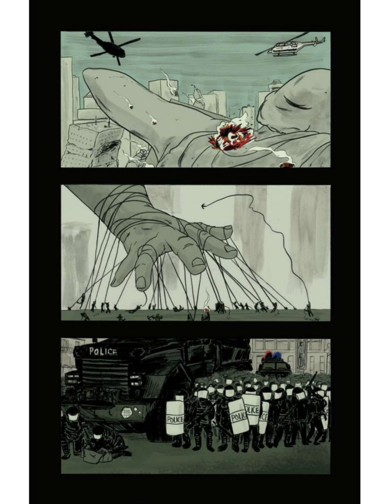 Page 3: Panel Six: Missile hitting the back of the 151-ft Woman in the city with helicopters flying over. Panel Seven: Hand of the 151-ft Woman with ropes being thrown over it by many people. Panel Eight: Large police force in riot gear and a large police truck on the left hand side.