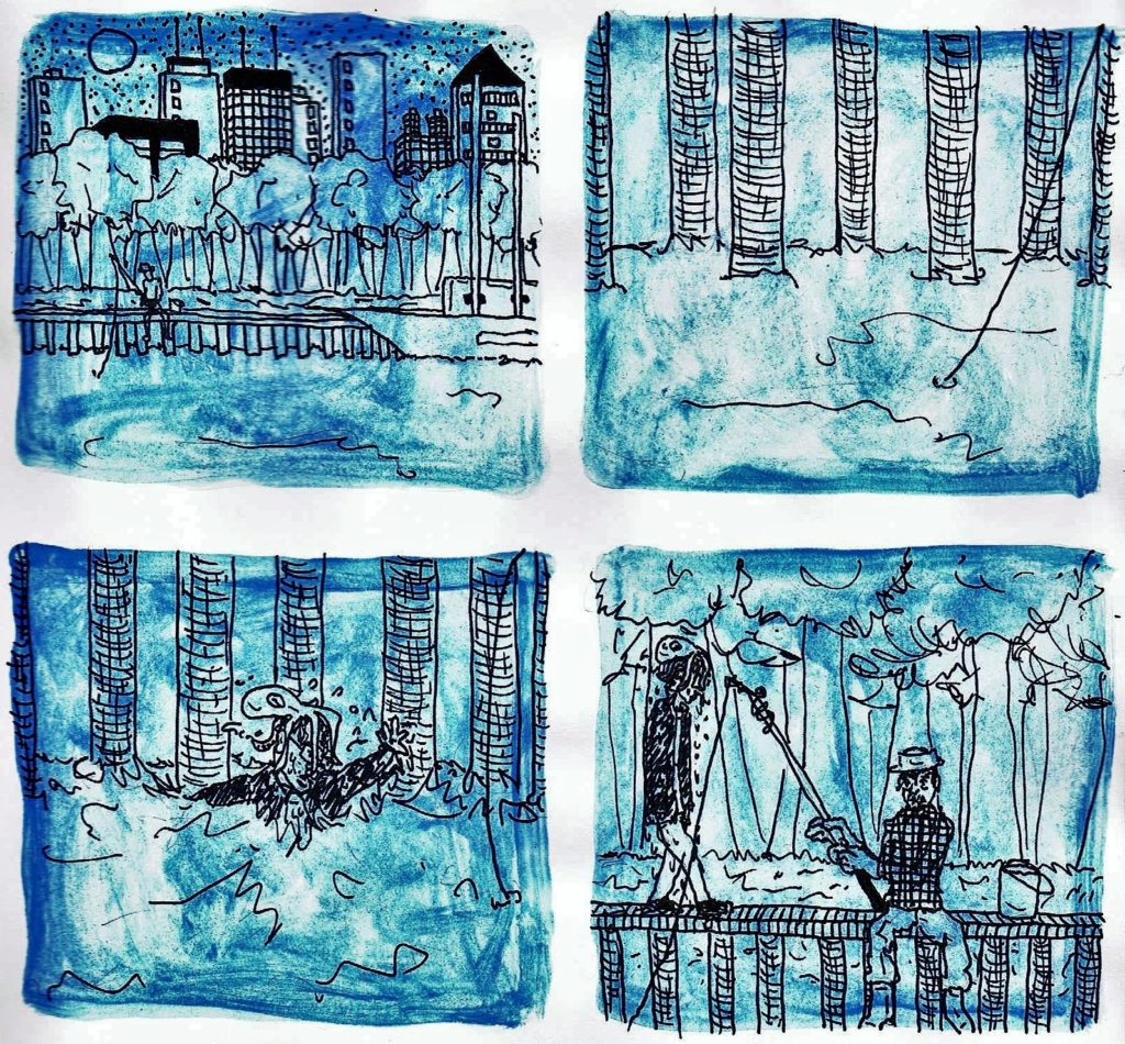 3 page comic. 2x2 (4) panels/page. Read left to right, top to bottom. Black and white, with blue shaded texturing, almost like watercolor. Panel One: An angler sits on a dock in the middle of an urban lake. An unnamed city skyline stretches across the background of the panel. Panel Two: Close up of the pillars that hold the dock and the fishing line entering the calm water. Panel Three: With no causal relationship to the fishing line, a man reaches out of the lake, disturbing the water around him. He has an octopus on his head.  Panel Four: Dripping water, the man and the octopus walk past the angler. The angler does not acknowledge the man with the octopus on his head.