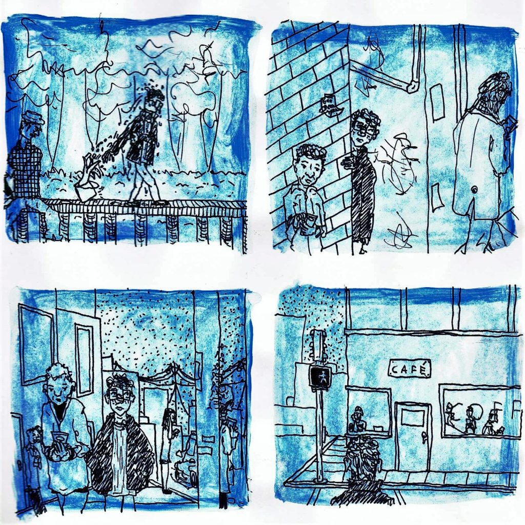 Page two. Panel one: The man removes the octopus from his head and throws it into the angler's pail, startling the angler. Panel two: The man peers around a brick wall in a cityscape. Two people are around him, but neither of them are paying attention to him. They are staring at their cellphones. Panel three: The man walks down a city street. For the first time, we can see that he is a young adult. To his left and right are tall buildings. He has messy hair, large square glasses, and a baggy coat over slim fit pants and a shirt. Three people in the background look at their phones. A person to the man's left is walking and looking at her phone. No one pays attention to the man. Panel four: In the foreground, the man waits to cross the street with his back to the reader. He is facing a café—his implied destination. The people in the café are looking at their phones. Although the pedestrian walk sign is on, he does not cross the street.