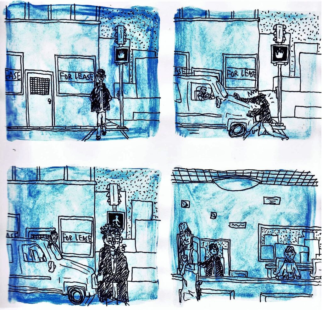 Page three, panel one: The perspective is reversed and the panel shows the front of the man crossing the street towards the café. The walk sign is off for pedestrians. Panel two: A car hits the man in the middle of the crosswalk. Panel three: The driver gets out of his car, but the man walks away unharmed. Panel four: The man enters the café. The server and a customer are on their phones and do not look at the man.