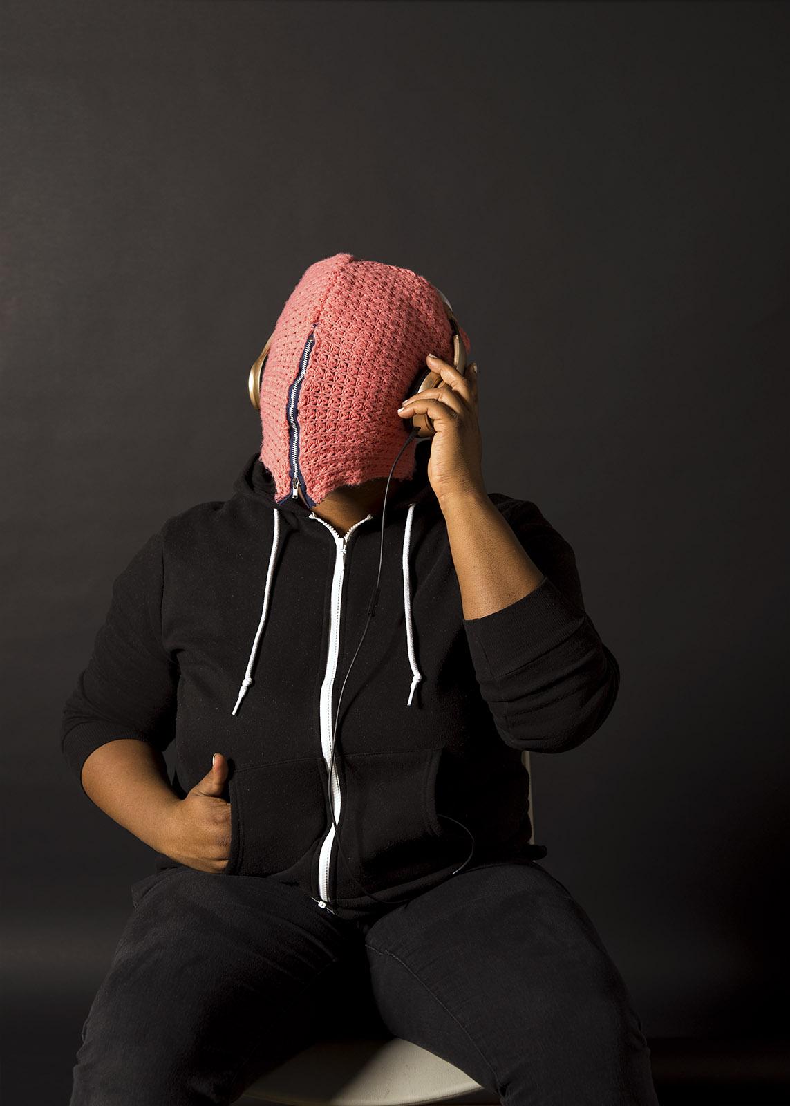 Comfort Thang (Self Portrait), vinyl print, mask: reclaimed crochet scarf, zipper, 2018